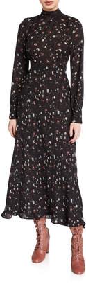 IRO Casual High-Neck Floral Long-Sleeve Dress