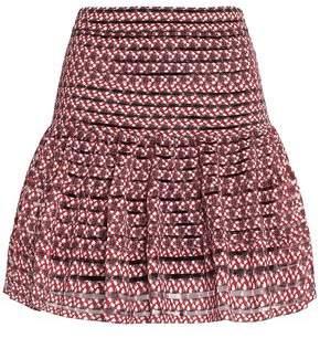 Maje Floral-Print Stretch-Knit Mini Skirt
