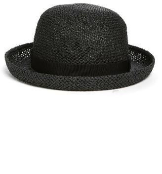 Women's Hinge Straw Bowler Hat - Black $29 thestylecure.com
