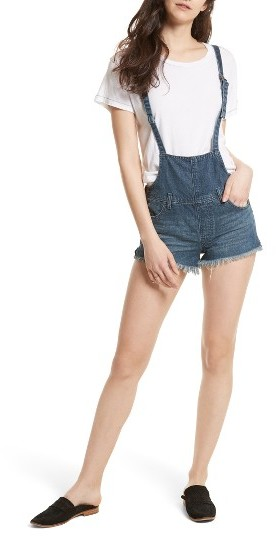 Women's Free People Strappy Denim Short Overalls