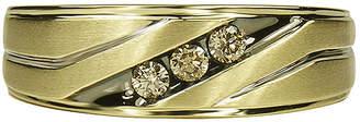JCPenney MODERN BRIDE Mens 1/5 CT. T.W. Champagne Diamond 10K Yellow Gold 3-Stone Slant Wedding Band