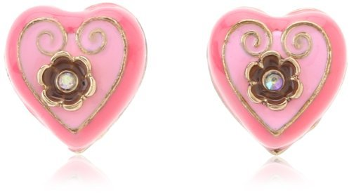 """Betsey Johnson Paris is Always a Good Idea"""" Heart Stud Earrings"""