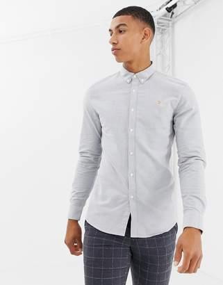 Farah Brewer slim fit oxford shirt in gray