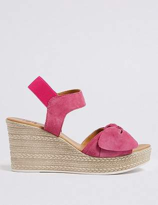 Marks and Spencer Suede Wedge Heel Bow Espadrilles