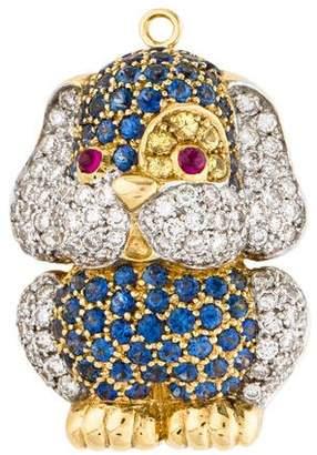 18K Diamond, Sapphire & Ruby Dog Brooch Pin