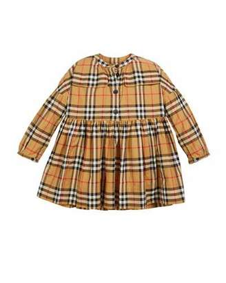 Burberry Marny Check Puff-Sleeve Dress, Size 4-14