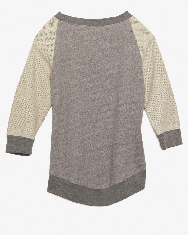 Modern Saints Perforated Leather Sleeve Raglan Sweatshirt