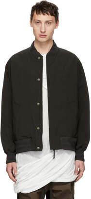 Robert Geller Grey Nylon Bomber Jacket