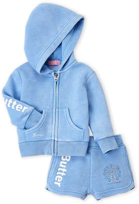 Butter Shoes Infant Girls) Two-Piece Zip-Up Fleece Hoodie & Sweat Shorts Set