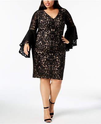 Xscape Evenings Plus Size Bell-Sleeve Burnout Damask Dress