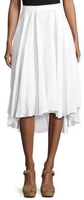 Miguelina Gale Mid-Ride Linen Midi Skirt, White $270 thestylecure.com