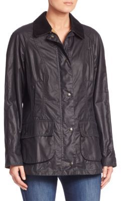 Barbour Beadnell Waxed Cotton Jacket $399 thestylecure.com