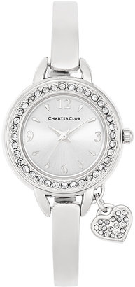 Charter Club Women's Heart Charm Silver-Tone Bangle Bracelet Watch 26mm, Only at Macy's $37.50 thestylecure.com