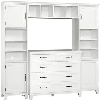Pottery Barn Teen Hampton 5 Drawer Dresser Set, Includes 2 Shelf Towers &amp Twin Bed Hutch, Simply White