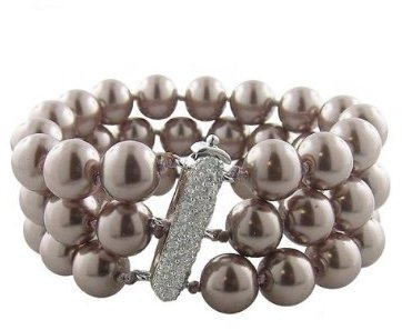 Sterling Silver 3-Row Pearl Bracelet - Taupe