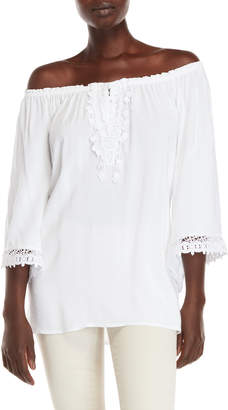 Paige Melissa Embroidered Off-the-Shoulder Peasant Top
