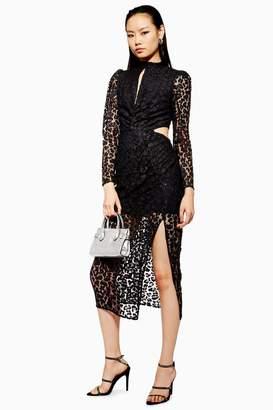 Topshop Lace Cut Out Midi Bodycon Dress