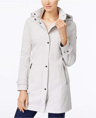 Calvin Klein Hooded 4-Way Stretch Water-Resistant Softshell Raincoat $200 thestylecure.com