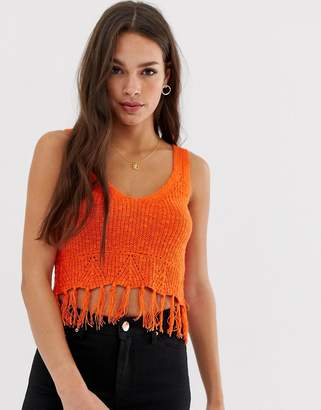 Asos Design DESIGN slub knit vest with fringing