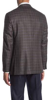 Hickey Freeman Milburn II Blue Brown Plaid Two Button Notch Lapel Cashmere Sports Coat