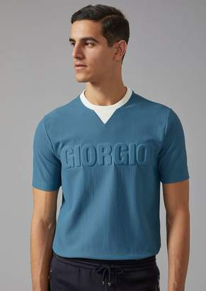 Giorgio Armani Perforated Jersey T-Shirt With Logo