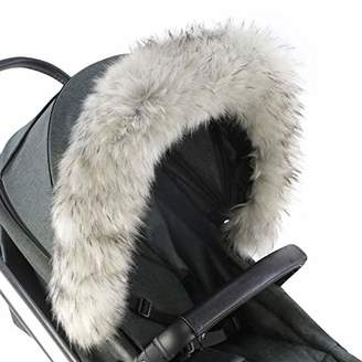 Graco For-Your-Little-One Fur Hood Trim Pram Compatible on Graco, Light Grey