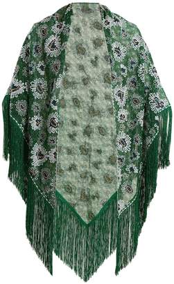 Missoni Floral-embroidered metallic-knit poncho