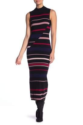 BCBGeneration Sleeveless Mock Neck Stripe Dress