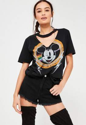 Black Mickey Mouse V Neck Cut Out T Shirt $35 thestylecure.com
