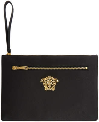 Versace Black Large Medusa Zip Pouch