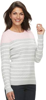 Croft & Barrow Women's Classic Cable-Knit Crewneck Sweater