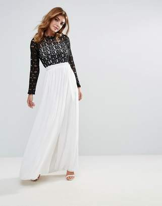 Club L High Neck Maxi Dress With Contrast Crochet Lace