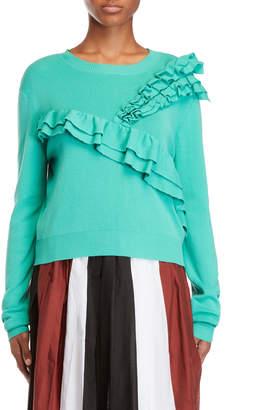Alysi Asymmetrical Ruffled Sweater