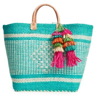 Mar Y Sol 'Ibiza' Woven Tote With Tassel Charms - Blue $139 thestylecure.com