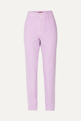 STAUD Blonde Two-tone High-rise Slim-leg Jeans - Lavender