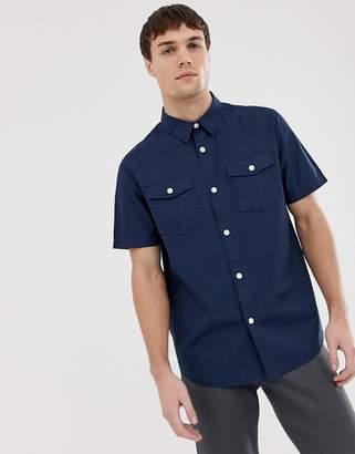 Farah Llena relaxed fit short sleeve pocket shirt in navy