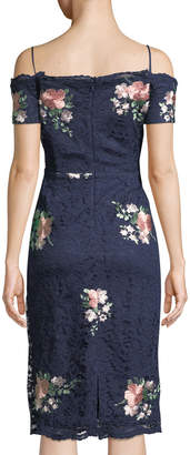 Nicole Miller New York Off-The-Shoulder Floral-Embroidered Lace Cocktail Dress
