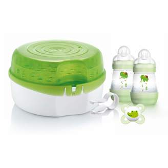 Mam Microwave Steam Steriliser Comes with 2x Easy Start Self Sterilising Anti-Colic Baby Bottles and Baby Soother Bottle Steriliser for Babies