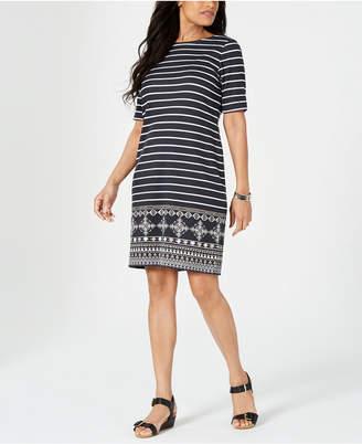 Karen Scott Medallion Striped Dress