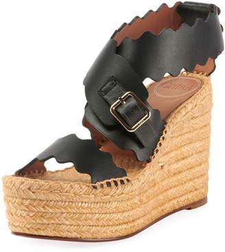 Chloé Lauren Scalloped Leather Wedge Espadrilles