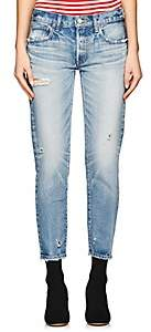 Moussy Women's Kelley Distressed Tapered Jeans-Lt. Blue