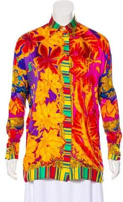 Gianni Versace Printed Silk-Blend Top