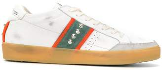 Leather Crown side stripes studded sneakers