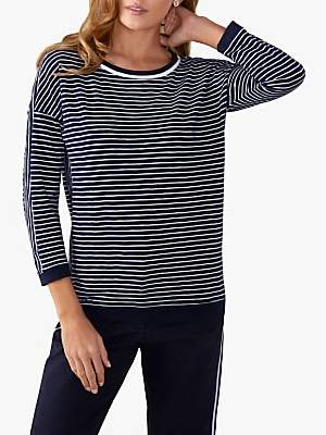 Pure Collection Double Crew Neck Stripe Top, Navy/White