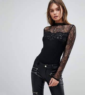 Lipsy Going Out Long Sleeved Lace Body With Sequins