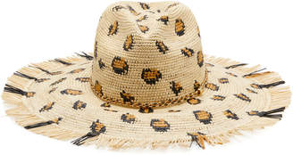 Sensi Studio Frayed Brim Leopard Print Straw Hat