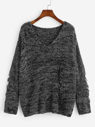 Shein Plus Ripped Detail Marled Knit Sweater