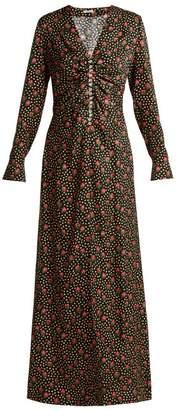 Miu Miu - Jaquard Flowerbud Print Crystal Embellished Dress - Womens - Black Multi