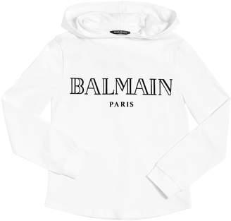 Balmain Logo Printed Hooded Cotton T-Shirt