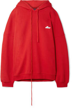 we11done Oversized Appliquéd Cotton-blend Jersey Hooded Top